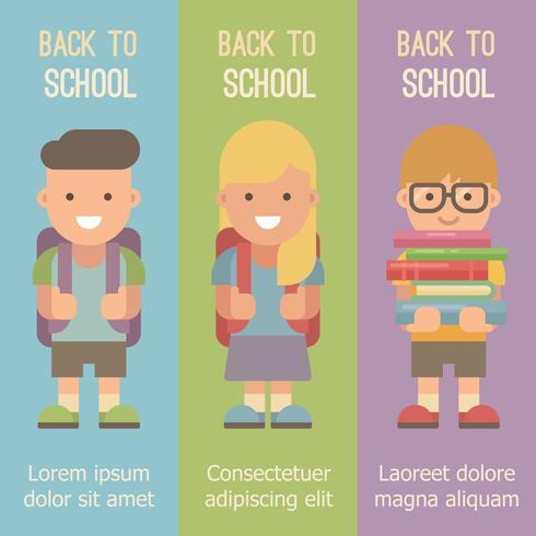 Tre vertikala banners med skolbarn med ryggsäckar vektor