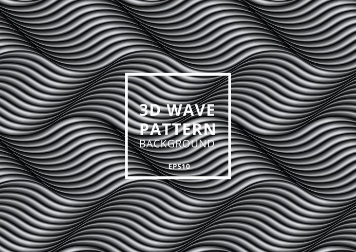 Svartvitt våg eller böjda linjer mönster vektor
