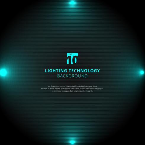 Blå belysningsglödeffekt med strålkastare på svart vektor