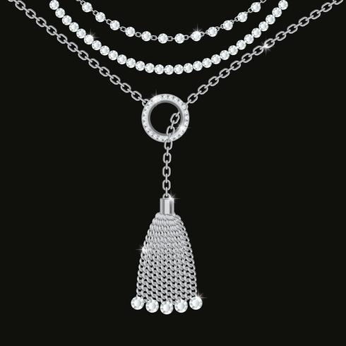 Silber-Metallic-Halskette mit Quaste, Edelsteinen und Ketten vektor