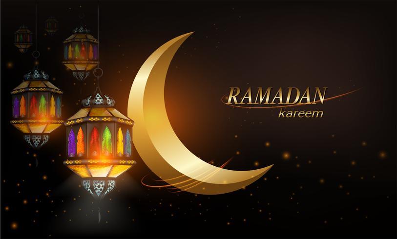 Ramadan Kareem eller Eid mubarak måne och stjärnor vektor