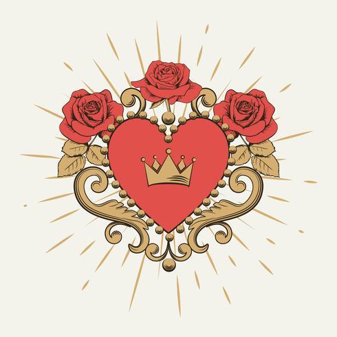 Vackert dekorativt rött hjärta med krona och rosor vektor