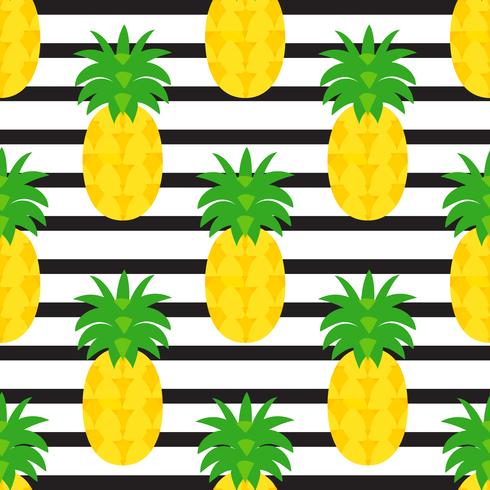Ananas Auf Schwarzem Gestreiftem Hintergrund vektor