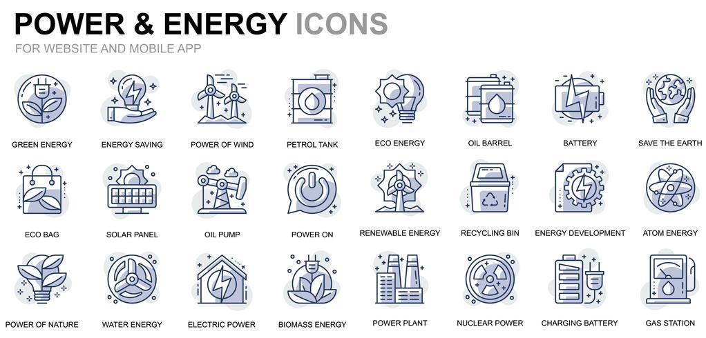 Kraftindustri och energilinjeikoner vektor