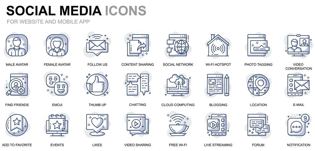 Social Media und Network Line Icons vektor