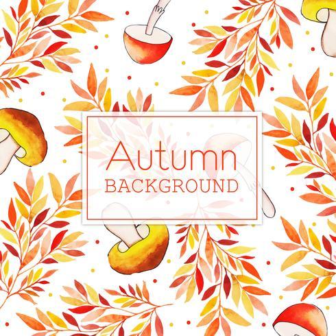 Pilz-und Blatt-schöner Aquarell Autumn Leaves Background vektor