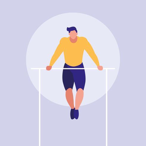 ung man öva gymnastik i barer vektor