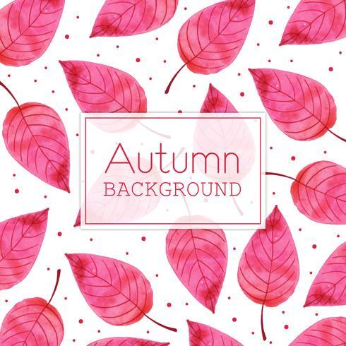 Rosa Blatt-schöner Aquarell Autumn Leaves Background vektor