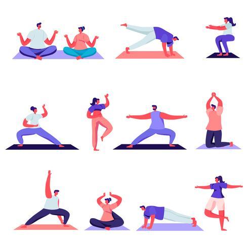 Uppsättning av platta karaktärer för manliga och kvinnliga sportaktiviteter vektor