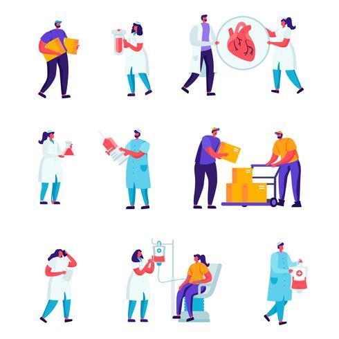 Uppsättning av läkemedelspersonal, arbetare för vägreparationer vektor