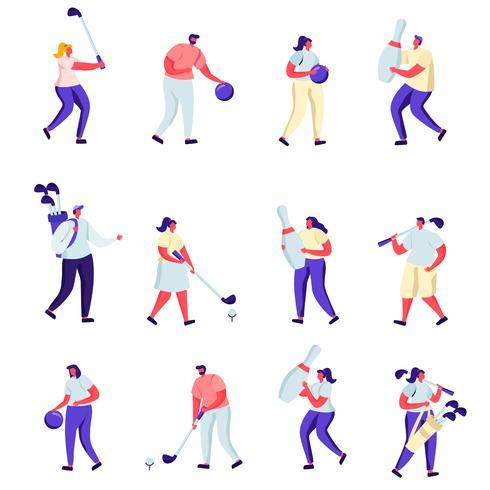 Satz flache Leute, die Golf spielen und Charaktere bowlen vektor