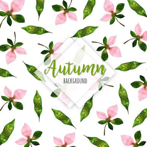 Rosa Blumen-Blüten-schöner Aquarell Autumn Leaves Background vektor