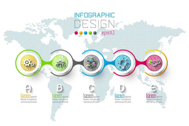 Business infographic med 5 steg vektor