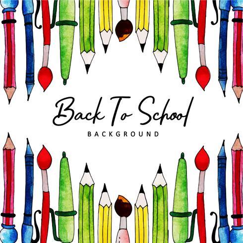 Skrivverktyg akvarell tillbaka till skolbakgrund vektor