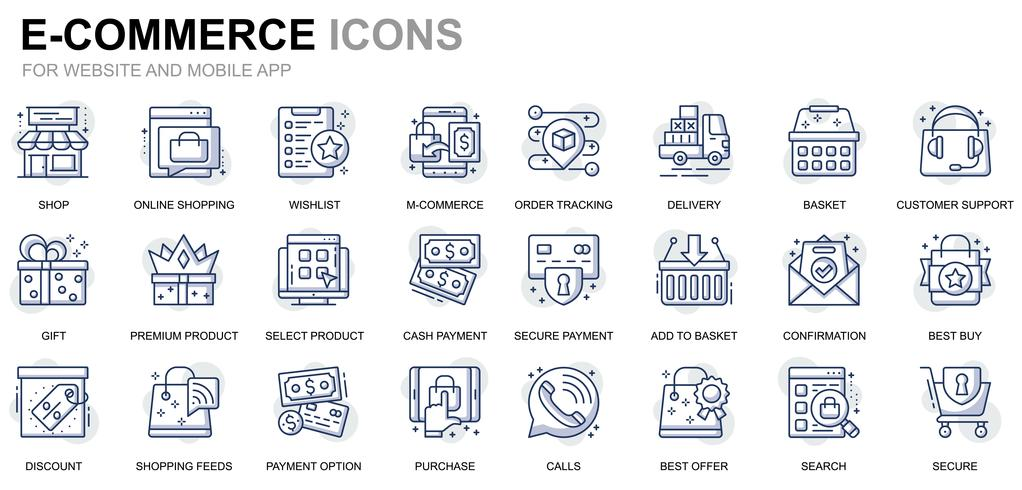 E-Commerce und Shopping Line Icons vektor