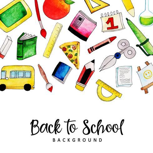 Bakgrund eller kort akvarell tillbaka till skolan påminnelse vektor