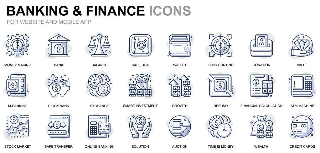 Banking und Finance Line Icons vektor