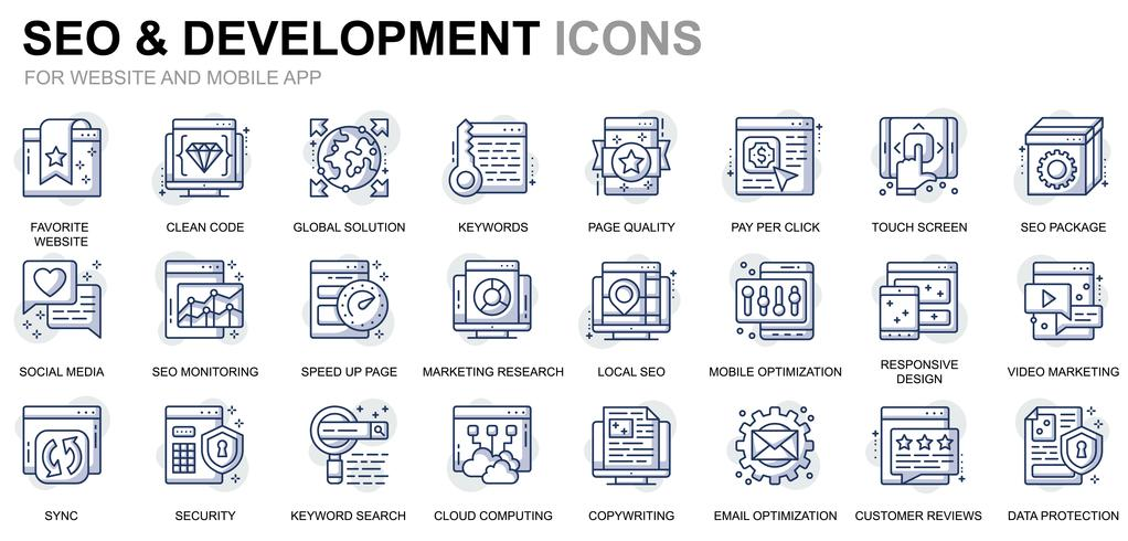 SEO und Development Line Icons vektor