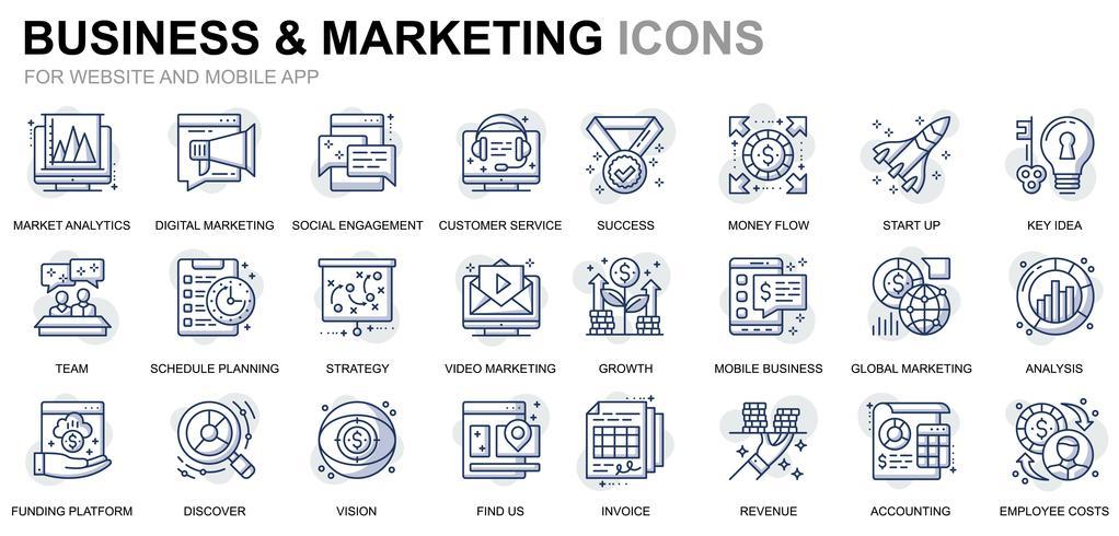 Affärs- och marknadsföringslinjeikoner vektor