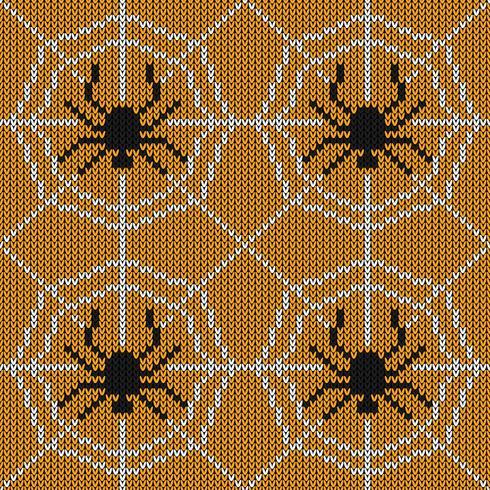 Nahtlose strickende Beschaffenheit mit Spinne und Netz vektor