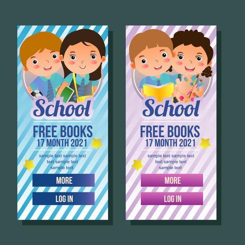 skola vertikala banner med barn vektor