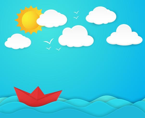 Papierboot im Ozean vektor