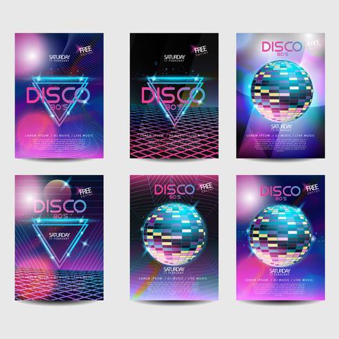Retro Poster Set 80er Jahre Disco-Stil vektor