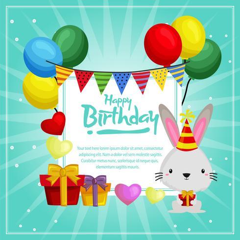födelsedagskortsmall med söta kaniner och ballonger vektor