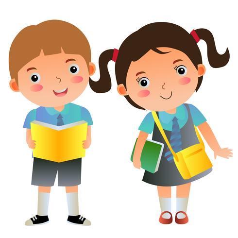 pojke och flicka skolbarn med böcker och väska vektor