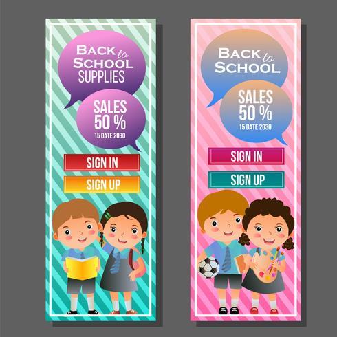 färgglada tillbaka till skolans vertikala banner med barn vektor