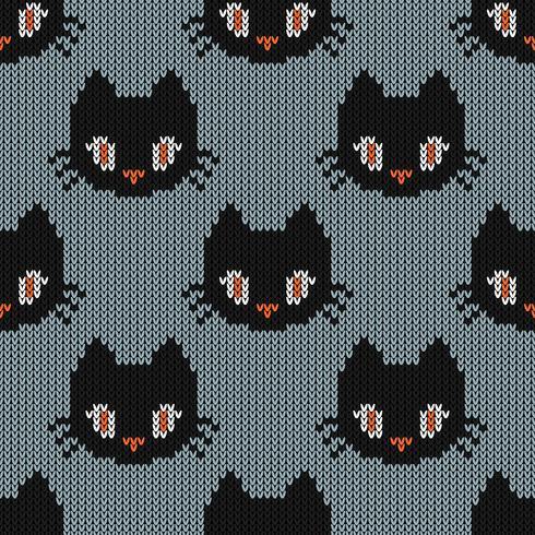 Nahtlose strickende Beschaffenheit mit netter Katze vektor