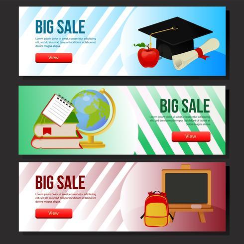 färgglada skol försäljning banneruppsättning vektor