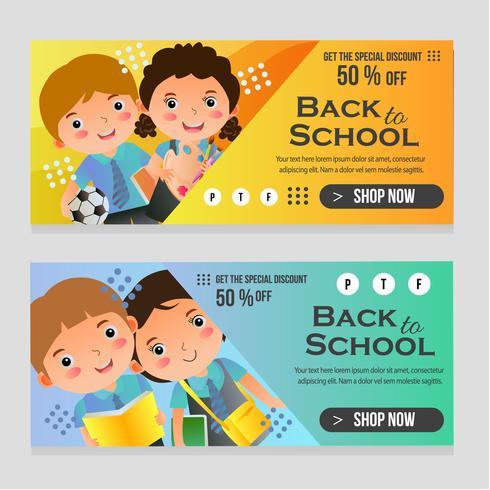 Zurück zu Schule-Web-Banner mit Schulkindern vektor
