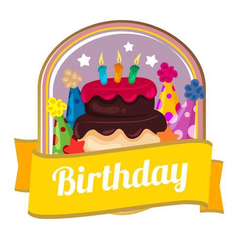 färgglad födelsedagsemblem med tårta och festhattar vektor