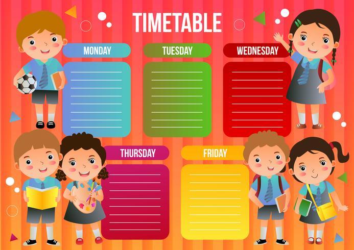skoltidsbord med skolbarn vektor