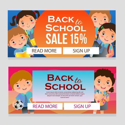 färgglada skol försäljning banner med skolbarn vektor