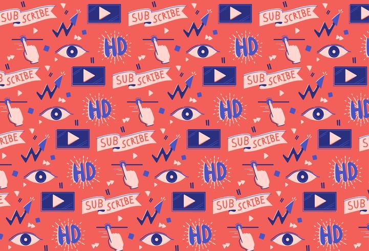 handritad sociala medier video bakgrund vektor