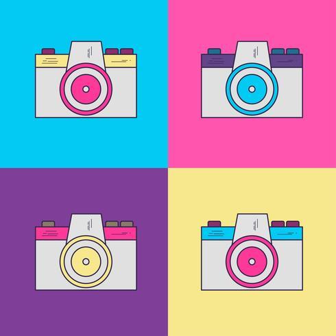 Fotografie-Kamera-Weinlese mit Art 90s vektor