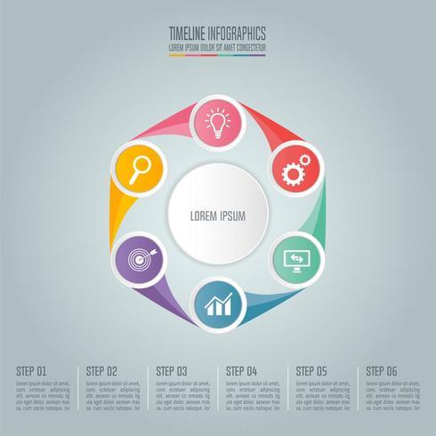 Affärsidé med 6 alternativ, steg eller processer. vektor