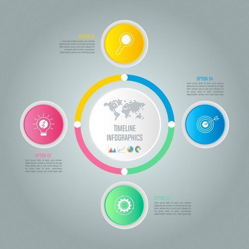 Kreatives Konzept für Infografik mit 4 Optionen, Teilen oder Prozessen. vektor