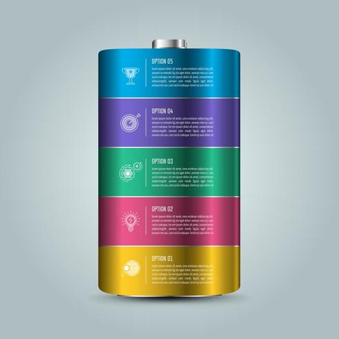 Affärsidé för batteriinfografisk design med 5 alternativ, delar eller processer. vektor