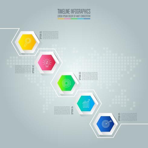 Infografik-Design-Business-Konzept mit 5 Optionen, Teile oder Prozesse. vektor