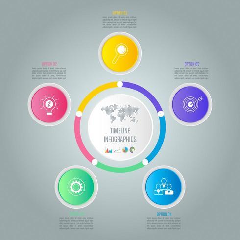 Kreativt koncept för infographic med 5 alternativ, delar eller processer. vektor