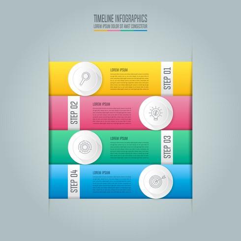affärsidé för infographic design med fyra alternativ, delar eller processer. vektor