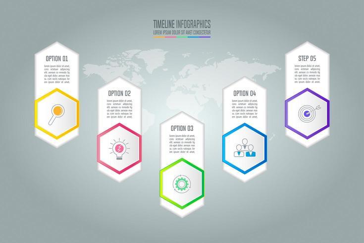 Kreatives Konzept für Infografik mit 5 Optionen, Teilen oder Prozessen. vektor