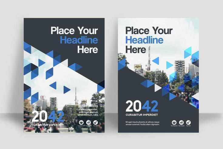 Zerstreute dreieckige Stadt-Hintergrund-Geschäfts-Bucheinband-Design-Schablone vektor