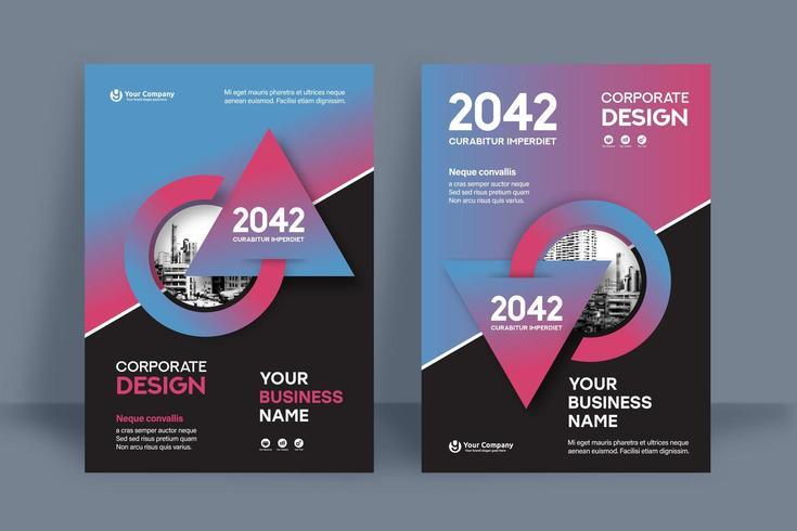 Kombinierte blaue und rote Stadt-Hintergrund-Geschäfts-Bucheinband-Design-Schablone vektor