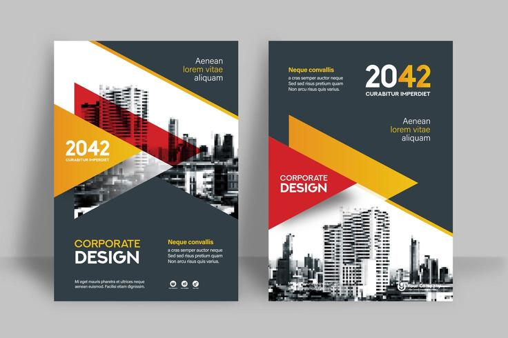 Orange und rote Skyline-Hintergrund-Geschäfts-Bucheinband-Design-Schablone vektor