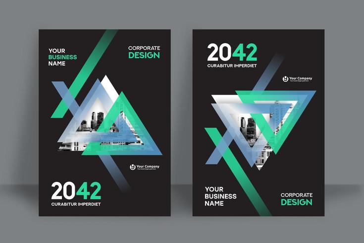 Moderne dreieckige Stadt-Hintergrund-Geschäfts-Bucheinband-Design-Schablone vektor