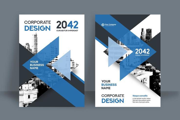 Pfeil-blaue Stadt-Hintergrund-Geschäfts-Bucheinband-Design-Schablone vektor